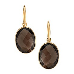 The Genuine Gemstone Company - Brown quartz vermeil earrings