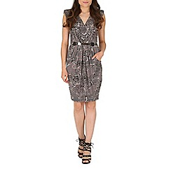 Mela - Grey animal print belted dress