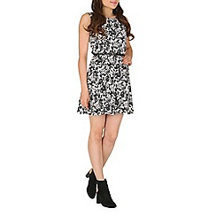 Mela - White flower print skater dress.