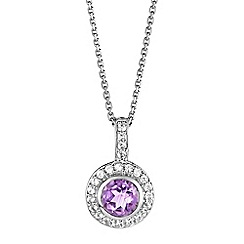 The Genuine Gemstone Company - Purple amethyst sterling silver necklace