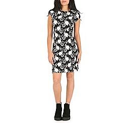 Mela - Black flower t-shirt dress