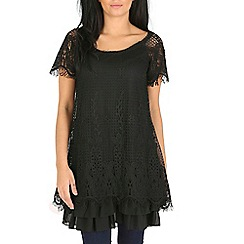 Mandi - Black layered lace tunic top