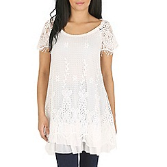 Mandi - White layered lace tunic top