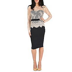 Amaya - Navy bodycon dress with lace detail