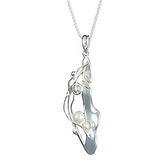 Banyan - Silver pearl and green amethyst pendant