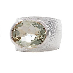Banyan - Silver hammered green amethyst ring