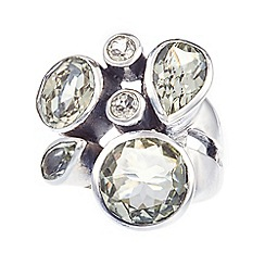 Banyan - Silver green amethyst faceted ring