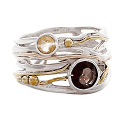 Banyan - Silver ring with smoky quartz, citrine