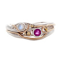 Banyan - Silver ruby and pearl ring
