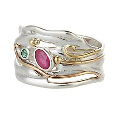 Banyan - Silver ruby and emerald ring
