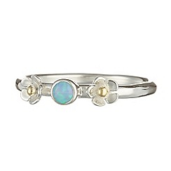 Banyan - Silver silver ring with opalite and flower