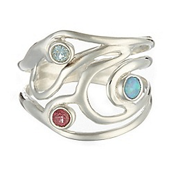 Banyan - Silver swirly stone set silver ring