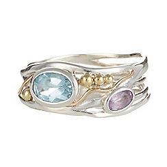 Banyan - Silver blue topaz and amethyst ring