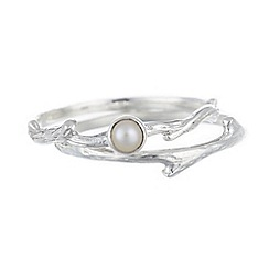 Banyan - Silver two piece stacking ring, pearl