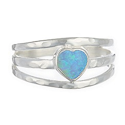 Banyan - Silver opalite heart band ring