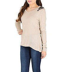 Madam Rage - Cream jewelled dip gem jumper