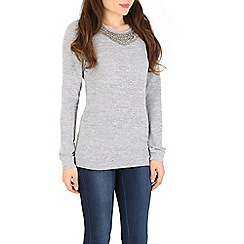 Madam Rage - Grey embellished neck jumper