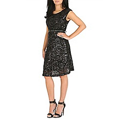 Amaya - Black sequin skater dress