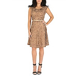 Amaya - Brown sequin skater dress