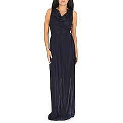 Amaya - Navy pleated maxi dress