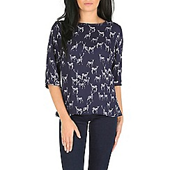Sugarhill Boutique - Navy stag print cross backt op