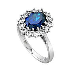Diamonfire - Blue classic sapphire cluster ring