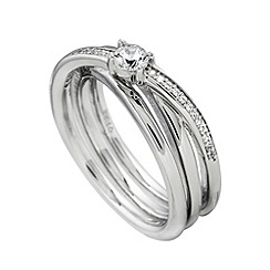 Diamonfire - Silver intricate three band classic ring
