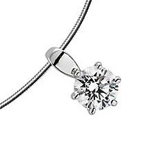 Diamonfire - Silver carat platinum plated single stone pendant