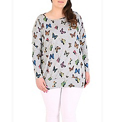 Samya - Grey knitted butterfly print top