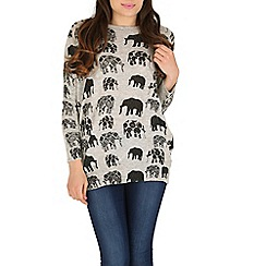 Tenki - Grey elephant print jumper