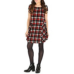 Tenki - Red tartan button tunic dress