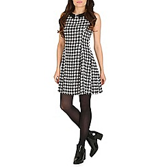 Cutie - Black houndstooth print a line dress