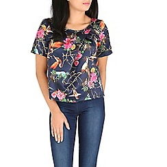 Cutie - Navy bird print top