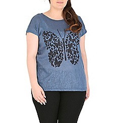 Samya - Blue digital butterfly print top