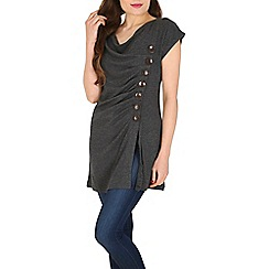 Voulez Vous - Grey cowl button front dress