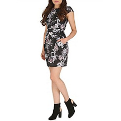 Voulez Vous - Black floral bird pocket dress