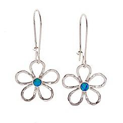 Banyan - Silver opalite set flower drop earrings