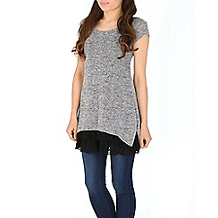 Izabel London - Grey overlay frill floral hem tunic