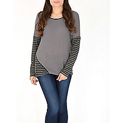 Izabel London - Grey stripe print top