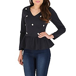 AS by Anna Smith - Navy embellished peplum top