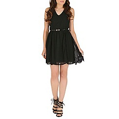 Mela - Black lace split dress