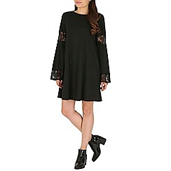 Mela - Black lace sleeve details dress