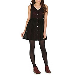 Mela - Maroon  skater dress with button
