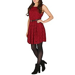 Mela - Maroon lace belted dress