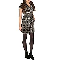 Mela - Beige cowl neck knitted tunic dress