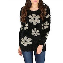 Mela - Black daisy print eyelash jumper