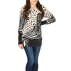 Mela - Beige animal print eyelash jumper