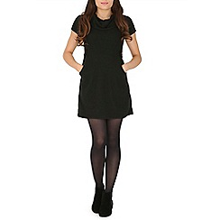 Mela - Black cowl neck plain dress