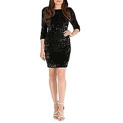 Amaya - Black velvet dress with sequins