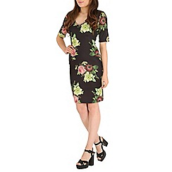 Amaya - Black floral print dress